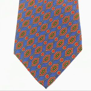 """BURBERRY Blue Red Green 100% Silk Tie 4"""" Hand Sewn"""